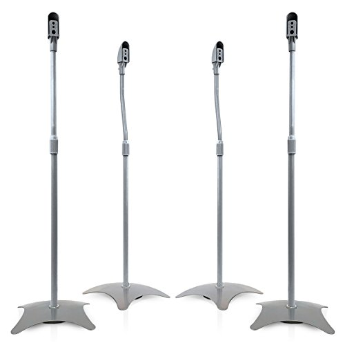 (9HORN 5.1 Metal Speaker Stands Kit Height Adjustable (Silver, 2 Pairs))