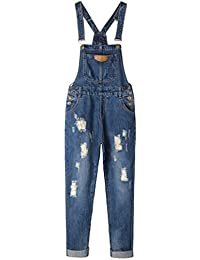 Womens' Adjustable Strap Ripped Denim Overalls