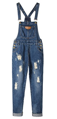 AvaCostume Women's Adjustable Strap Ripped Denim Overalls, L