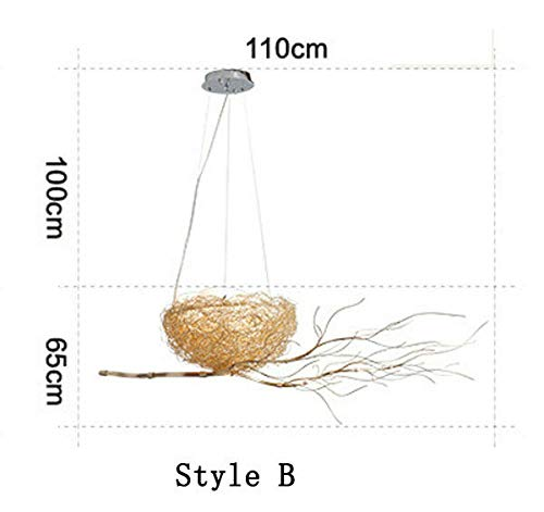 FidgetKute Golden Bird Nest Chandelier Aluminum Branches Pendant Lamp Art Decor PendantLamp Style BStyle B
