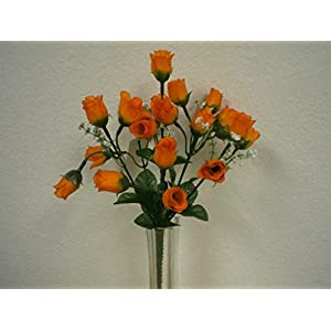 JumpingLight 4 Bushes Orange Mini Rose Buds Artificial Silk Flower 12'' Bouquet 21-601OR Artificial Flowers Wedding Party Centerpieces Arrangements Bouquets Supplies 75