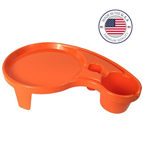 Arron Kelly  Party Pals  One Handed Drink Holder, Napkin, Cutlery & Food Serving Tray with Hidden Handle - Orange - Breakfast Table for 1 (Garden Lounge San Antonio)