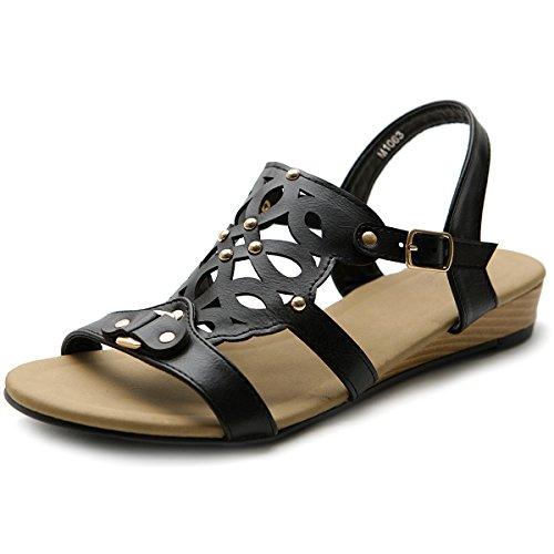 Ollio Women's Shoe Cut Out Strappy Low Heel Wedge Sandal (6 B(M) US, Black)