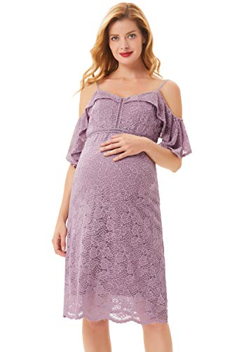 (Maternity Ruffled Sleeve Spaghetti Strap Lace Dress for Baby Shower Purple)