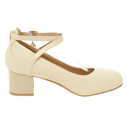 Straps Plus Shoes Chunky Cross and SJJH Heel with Pumps Casual Size Beige with fwqWtv
