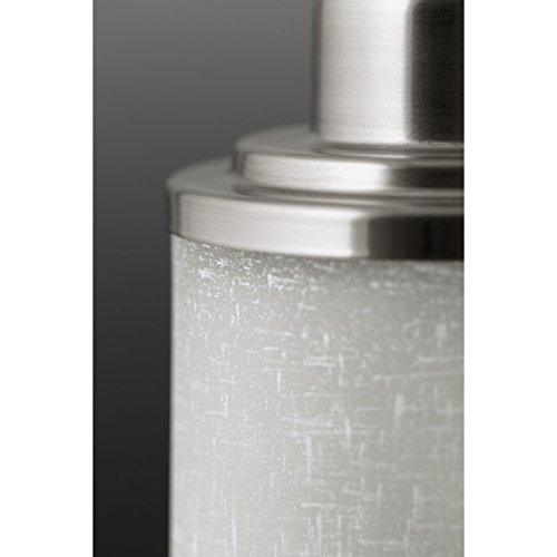 Progress Lighting P2978-09 3-Light Wall Bracket with White Linen Finished Glass and Clear Edge Accent Strip, Brushed Nickel