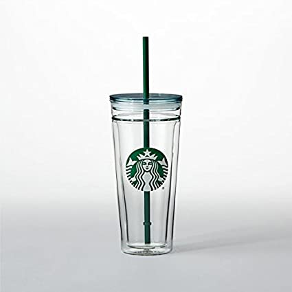 Starbucks 20 Ounce Clear Insulated Tumbler Green Straw