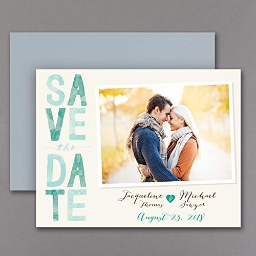 125pk Colorful Typography - Photo Save the Date Magnet - Emerald-Save the Date Magnets -