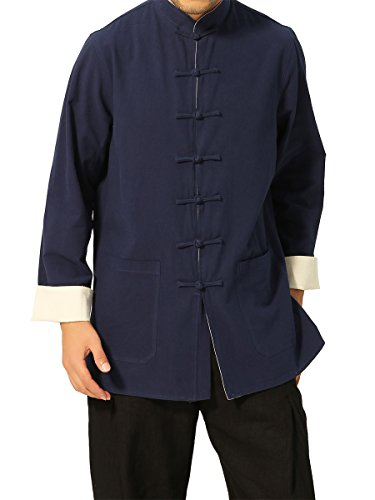 Bitablue Men's Chinese Traditional Style Reversible Cotton Shirt (Navy Blue/Beige, Medium)