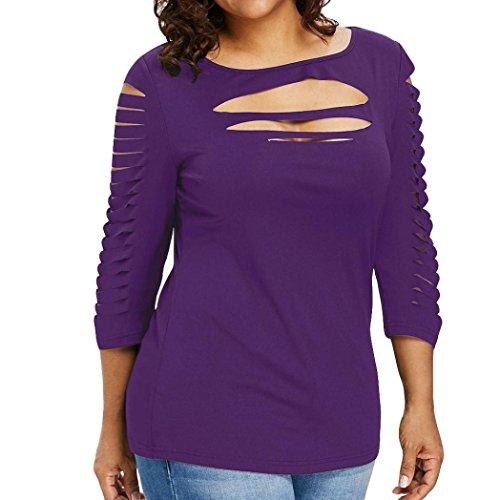 Wintialy Womens Three Quarter Plus Size Fashion Bllouse T-Shirt Blouse Tank Tops Purple ()