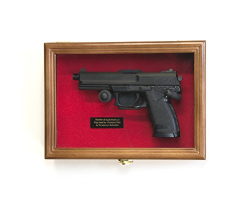 Single Pistol Display Case Wall Mount Solid Hardwood Cabinet (Walnut Finish, Red Felt Background)