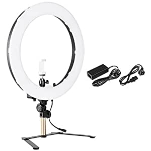 Neewer 14-inch Outer Dimmable Tabletop Ring Light Kit for Photo Studio Portrait Video Shooting, Includes: 5500K SMD LED Dimmable Ring Video Light, Support Bracket, Ball Head, Phone Holder (AU Plug)
