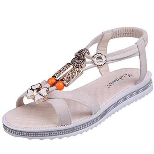Vovotrade® Damen Sommer Sandalen Frauen Flache Strappy Low Heel Wedge Ankle Schuhe Strand Beige