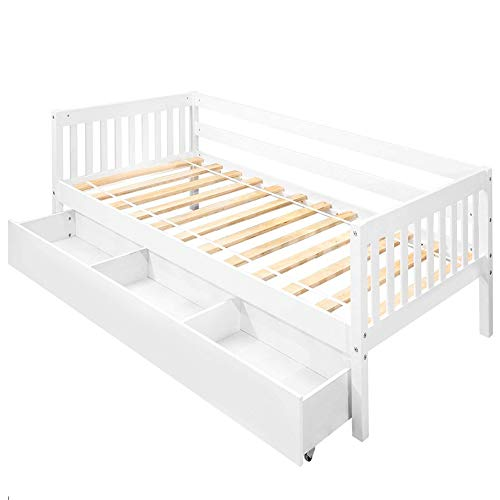 Daybed Frame Twin W/Storage Drawers,JULYFOX Bed Frame Wood 400lb Heavy Duty with Oxford Headboard Foot Board Side Rail 3 Drawers Underneath No Box Spring Needed Platform Bed Spread Ivory White