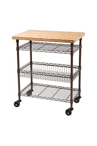Seville Classics Professional Chef's Kitchen Cart with Solid Bamboo Top