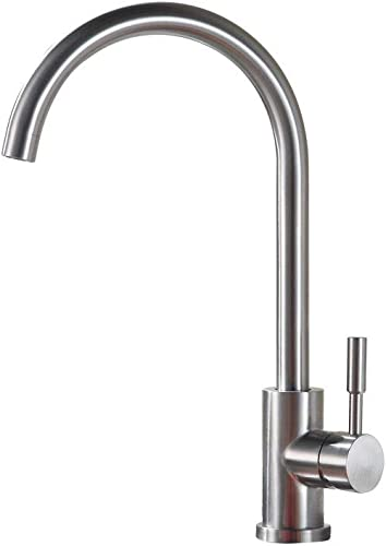 Sanliv 360 Degree Swivel Bar Sink Faucet Modern Hot Cold Mixer Stainless Steel Single Handle Prep Sink Tap, Easy Installation Brushed Nickel Kitchen Faucets