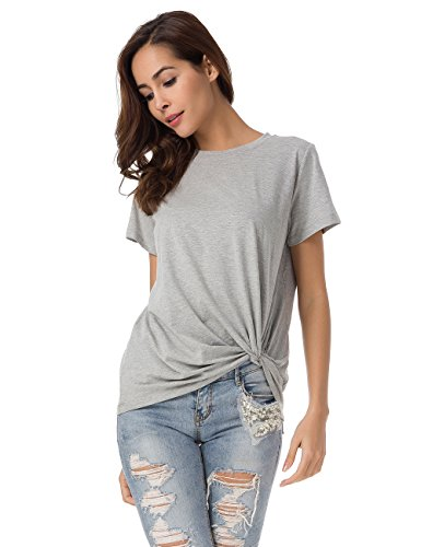 Cotton Armoire (MSHING Women's Casual Round Neck Short Sleeve Tie Up T-Shirt Blouse Comfortable Cotton Basic Tops Gray)