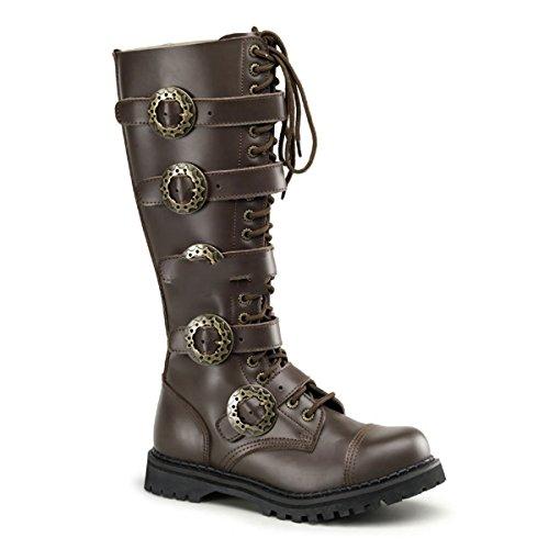 Demonia Steam-20 - Gothic Steampunk Industrial Leder Stiefel Schuhe 36-48