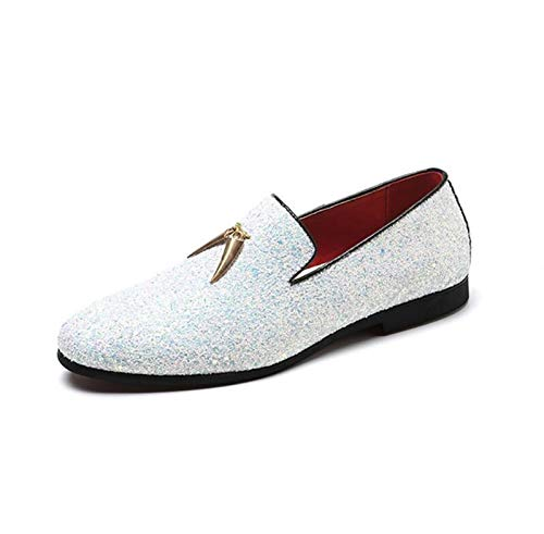 White LOVDRAM Men'S Leather shoes Big Size 38-48 Mens shoes Casual Fashion Nightclub Bars Party Superstar shoes Slip-On bluee Sequin Wedding Mens Loafer
