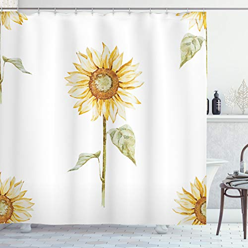 Ambesonne Sunflower Shower Curtain, Sunflowers with Watercolor Painting Effect and in Minimalistic Design Artwork, Cloth Fabric Bathroom Decor Set with Hooks, 70 Long, Yellow White