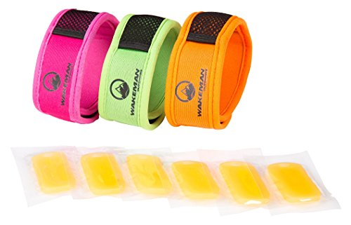 Natural Mosquito Repellent Bracelet Wristband- Safe, DEET Free Insect Protection, 3 Pack with 6 Refills By Wakeman Outdoors (Pink. Green, Orange) (Mosquito Repellent Wristband)