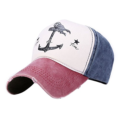 Lamdoo Man Woman Couples Baseball Caps Cotton Blend Do Old Pirate Ship Anchor Sun Hat Navy red Wine 2 ()