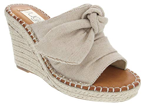 Sugar Women's Hundreds Espadrille Wedge Sandals with Knotty Bow Detail 10 Natural Metallic
