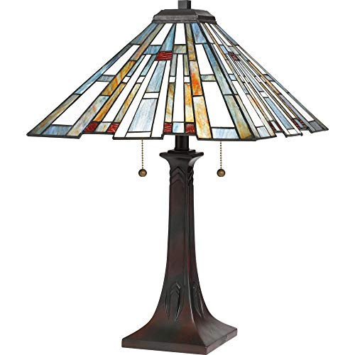 (Quoizel TFMK6325VA Maybeck Tiffany Table Lamp Lighting, 2-Light, 150 Watts, Valiant Bronze (25