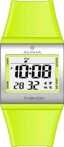 Alpha Saphir 247F - Reloj digital de mujer de cuarzo con correa de plástico verde (alarma) - sumergible a 100 metros: Amazon.es: Relojes