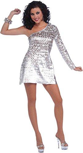 Disco Fever Fancy Dress Costumes (Forum Disco Fever Honey Dress, Silver, Standard Costume)