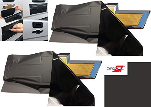 Matte Black Chevy Bowtie Emblem Overlay Kit (2 Sheets) 11.5