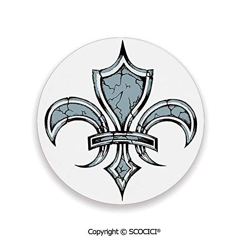 Coaster For Drinks With Vibrant Colors And Cork Backing, Ceramics with cork bottom, Circle area coaster,Fleur De Lis,Grungy Lily Retro Renaissance Spirit Element,3.9