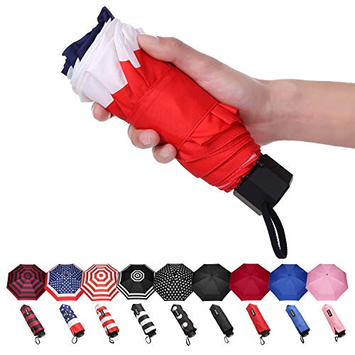 American Flag Umbrella - BAGAIL Compact Umbrella Quality Windproof Travel Umbrella Lightweight Totes Mini Umbrella for Pocket(Flag)
