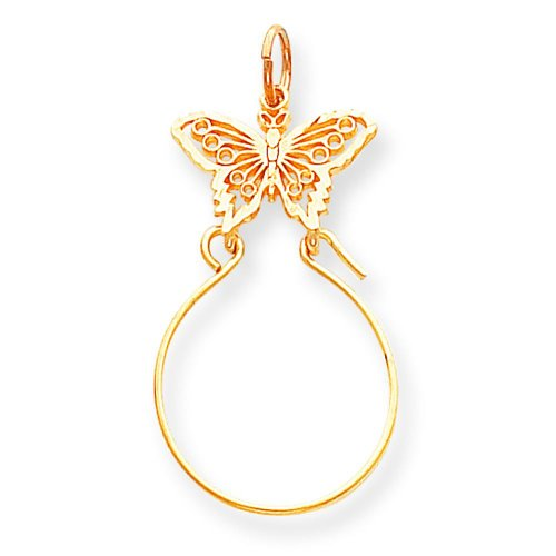 Gold Butterfly Charm Holder (14K Gold Butterfly Holder Charm Jewelry FindingKing)