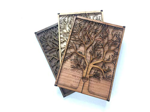 3D Wedding Invitation made of Wood- Unique wedding invitations, Tree Wedding Invitations, Lovebirds Wedding Invitations, Wedding Invitations with Envelopes, Unique Greeting Cards