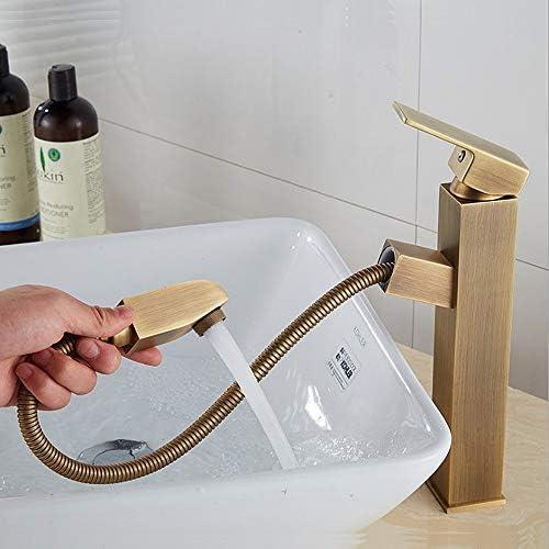 キッチン水栓 デッキマウント洗面所冷たいお湯引き出しシンクの蛇口レトロブロンズ色現代高級商業シングルハンドル浴室の蛇口プルダウンスプレー真鍮流域水栓 キッチンとバスルームに適しています