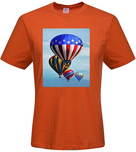 Custom Balloon Hot Air Flying Nature Sky Mens T-shrits,DIY MENS Cotton Crew Neck T-Shirt