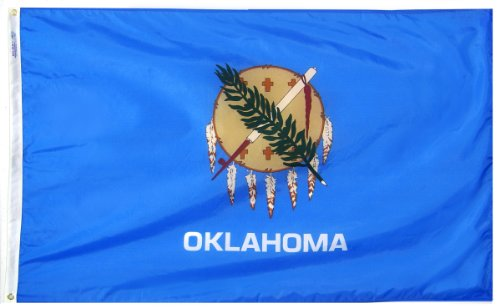 Annin Flagmakers Model 144360 Oklahoma State Flag 3x5 ft. Nylon SolarGuard Nyl-Glo 100% Made in USA to Official State Design Specifications.