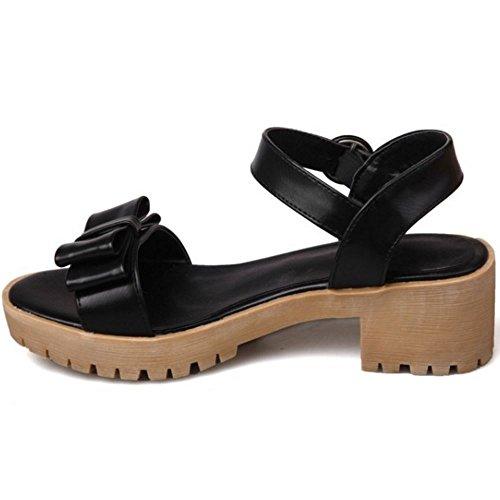 COOLCEPT Mujer Moda Correa de Tobillo Sandalias Tacon Ancho Punta Abierta Slingback Zapatos con Bowknot Tamano Negro
