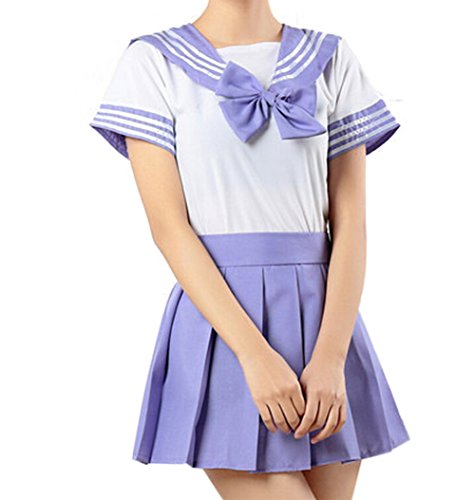 WenHong Japan School Uniform Dress Cosplay Costume Anime Girl Lady Lolita (Asia Medium, Purple02) ()