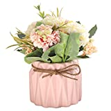FairDeco Artificial Flower Ceramic Vases Hydrangea Flower Bouquet for Table Living Room Wedding Decor