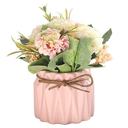 FairDeco Artificial Flower Ceramic Vases Hydrangea Flower Bouquet for Table Living Room Wedding Decor ()