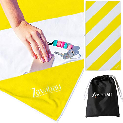 Zavabay Microfiber Beach Travel Towel - Quick Drying, Sandless Beach Towel with Zip Pocket - XL Large Pool Towel for Beach, Vacations, Travelling, Backpacking or Gift for Women, Men, Kids (Yellow)