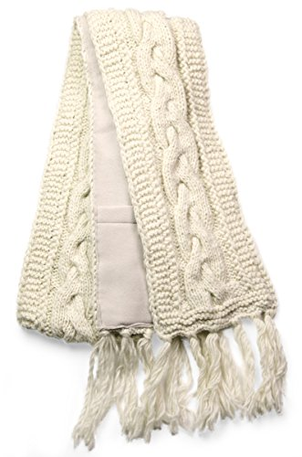 TCG Women's Cable Hand Knit Wool Scarf - Cream