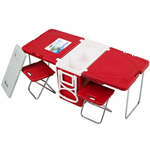 Quality Camping - Multi Function Rolling Cooler - with Table & 2 Chairs - Beverage Cooler Cart - Convenient For Picnic Camping Party Beach - Red