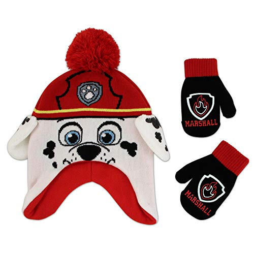 Nickelodeon Boys' Toddler Paw Patrol Character Scandi Hat and Mittens Set, Marshmallow red/White, Age 2-4