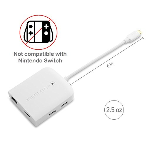 Cable Matters USB C Multiport Adapter (USB C Dock with USB C to HDMI 4K), 2x USB 3.0, Gigabit Ethernet, and 60W PD in White - USB-C & Thunderbolt 3 Port Compatible for MacBook Pro, Dell XPS and More by Cable Matters (Image #6)