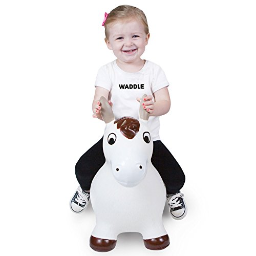 WADDLE Inflatable Bouncy Animal Pony Farm Hopper Kids Ride On Horse Bouncer for Children Riding White Brown Stick Horse Space Hopping Jumping Ball Lucky Birthday or Kids Toddler Holiday Toy Gift Idea (White Horse Farm)