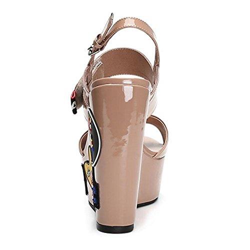 De Suelas Elegante Áspero 13 Mujer Una Tacón Zapatos Alto Cuero Altura Gruesas Cuñas Sandalias Palabra Antideslizantes Beige Nuevas Cm Hw6Aq85an