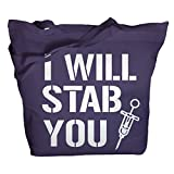 Shirts By Sarah Tote Bag Funny Nursing Bags I Will Stab You Nurse Totes (Purple One Size)